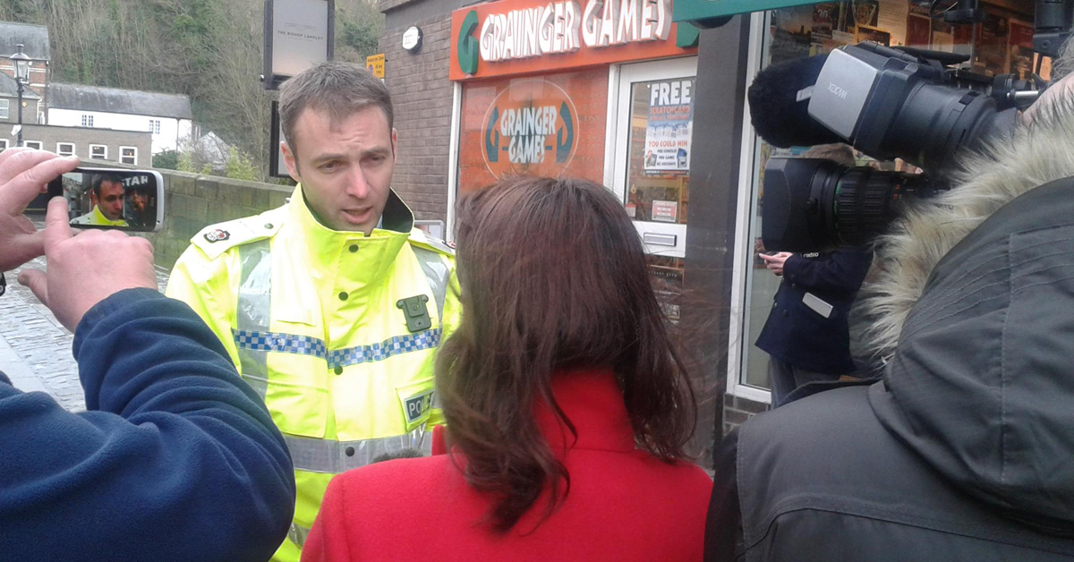 Supt. Huddleston addresses the press. Credit: Durham Constabulary