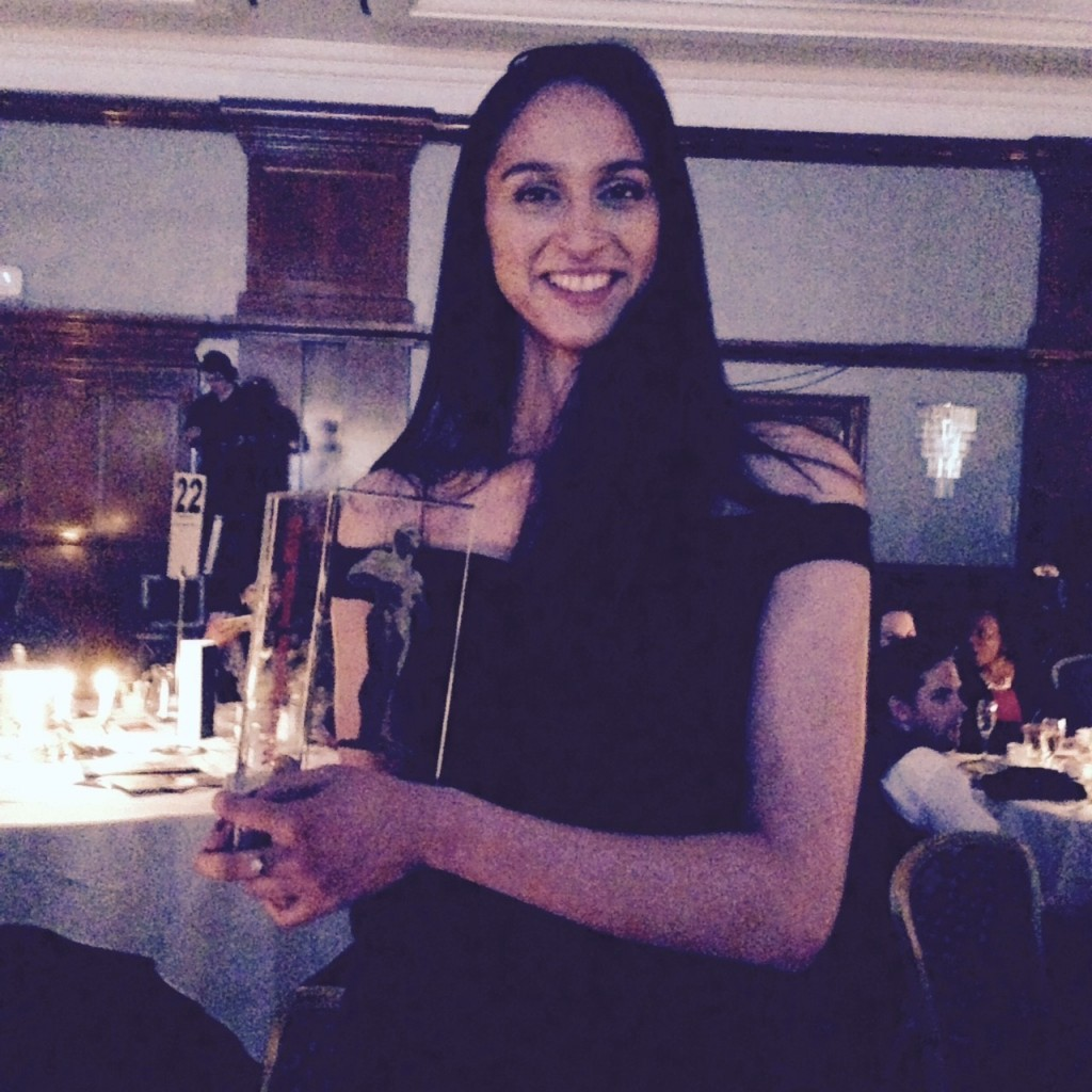 Farah with her Midlands Business Young Entrepreneur Award 2015