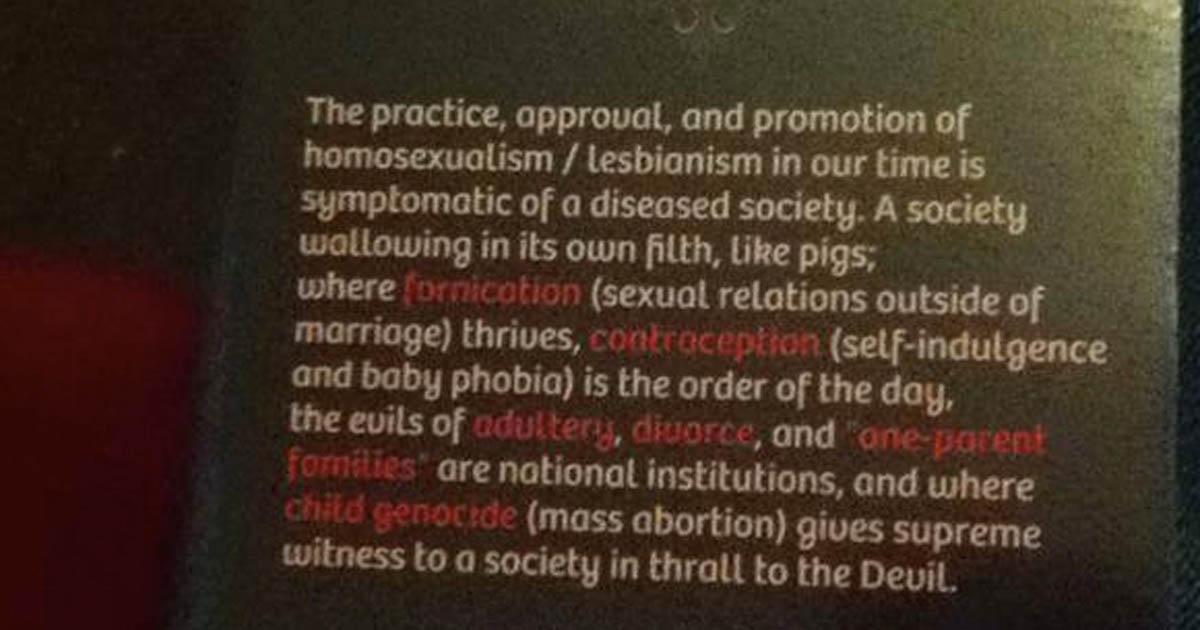 Homosexualism leaflet