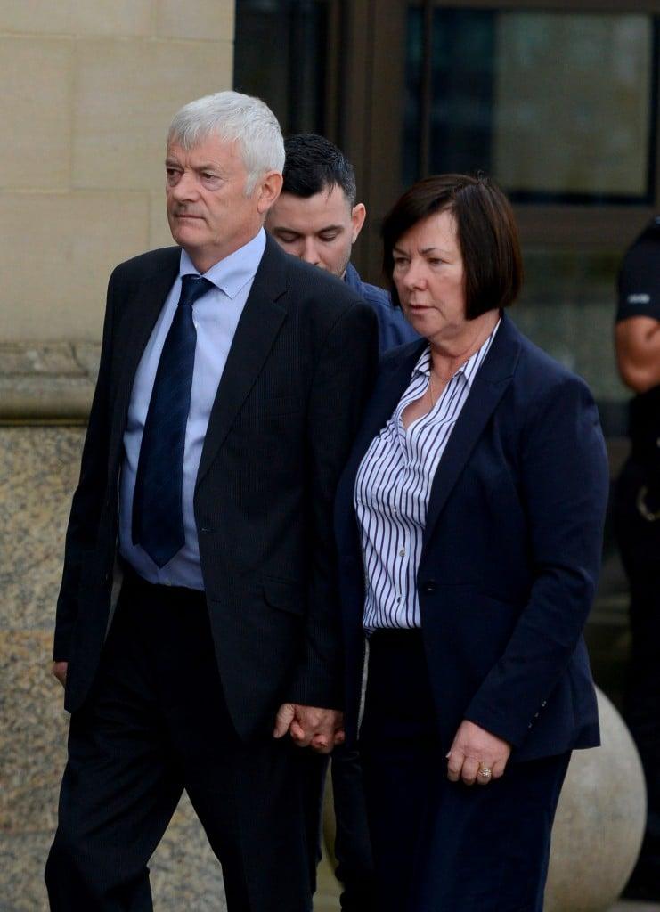 The parents of murdered Irish student Karen Buckley, 24, John Buckley, 62 and Marian Buckley, 61, arrive at Glasgow High Court