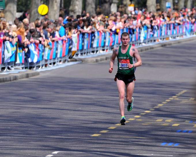 Pat nearing the finish line on Sunday
