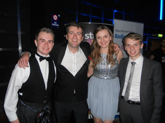 2) (From L to R) Calum Macdonald, BBC News Beat presenter Chris Smith, Hannah Whitcombe  and Alasdair Keane