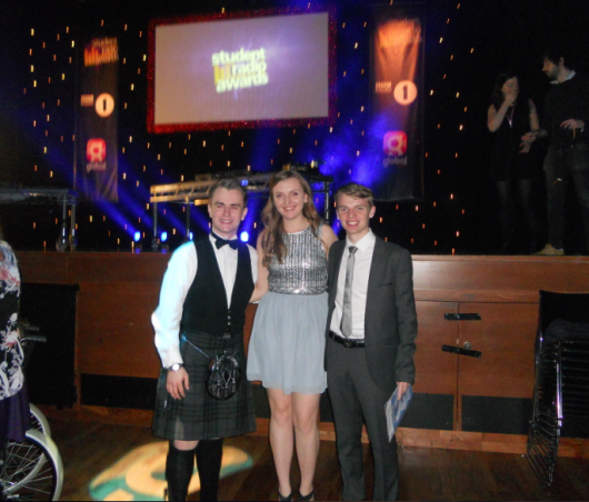 The winning team: 1) (From L to R) Calum Macdonald (Presenter), Hannah Whitcombe and Alasdair Keane (Both  producers)
