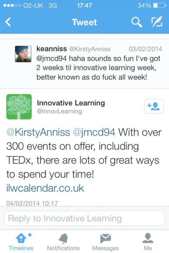 Sarcastic? Innovative Learning Week? Never.