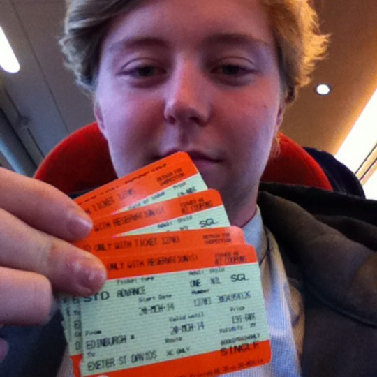 Harry Goodrich with his tickets.