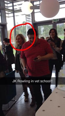 J.K. Rowling strolling the Vet school with comedian Peter Kay