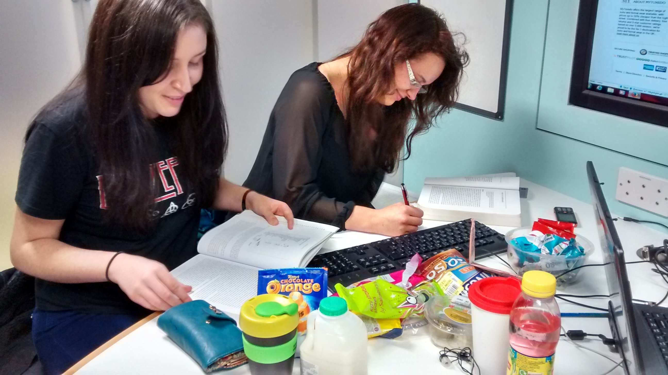 Victoria and Iona revise the way we all should... drowned in snacks.