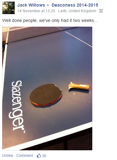 No better way to scare students off than ruining ping pong for them. (Don't worry, it was taped back together)