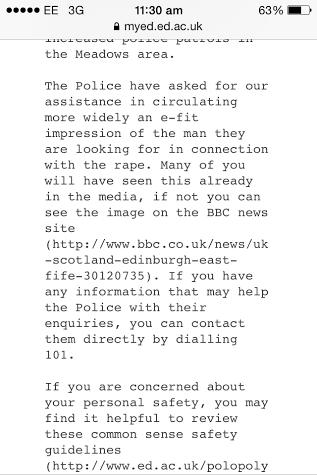 Email sent by the University of Edinburgh.