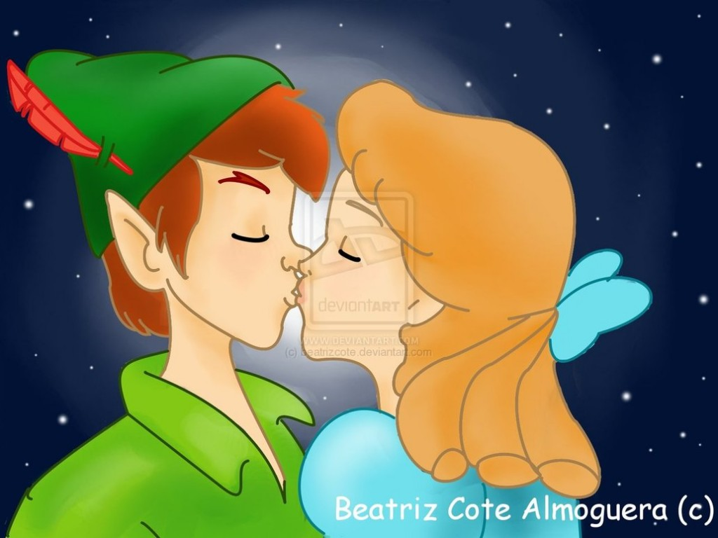 Peter_pan_and_Wendy_Kiss_by_beatrizcote