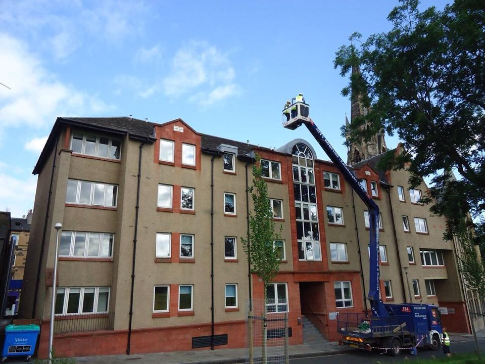 34 Wrights Houses Edinburgh Student Housing Cooperative Front View With Cherry Picker