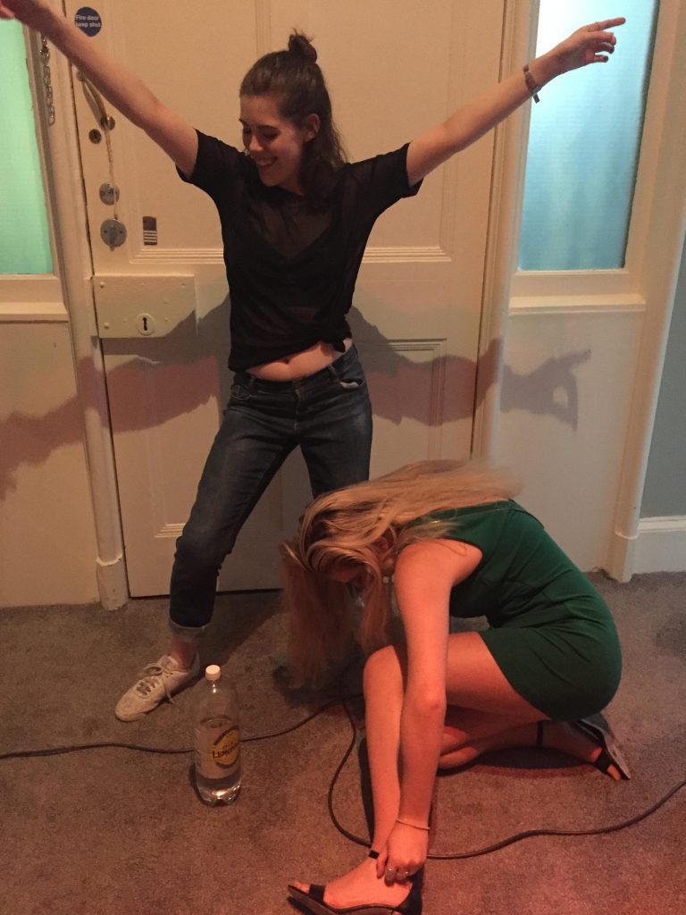 Classic drunk girl on the floor