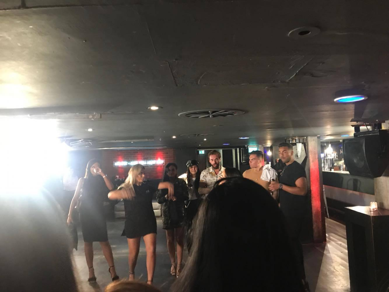 The Geordie Shore cast briefing their lucky team of extras