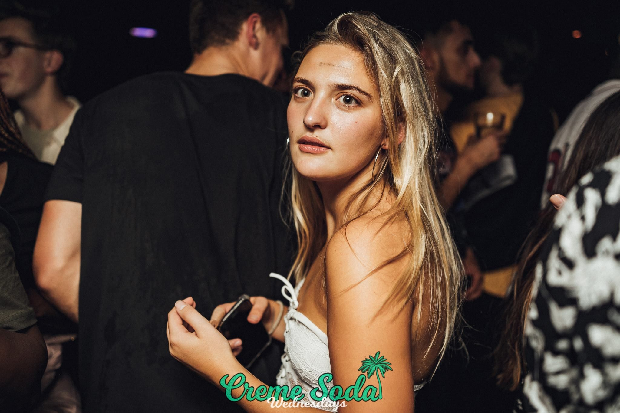 Image may contain: Woman, Girl, Female, Blonde, Night Life, Night Club, Club, Person, People, Human