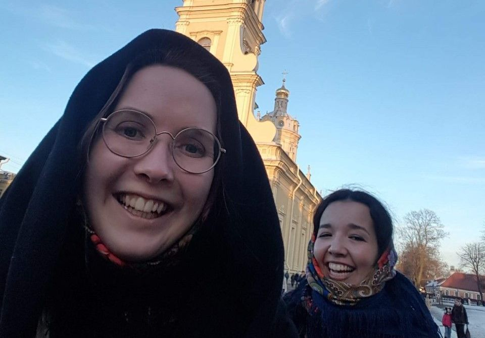 Image may contain: Selfie, Head, Bell Tower, Photo, Portrait, Photography, Female, Vacation, Tower, Architecture, Dome, Building, Smile, Accessory, Accessories, Glasses, Human, Face, Person, Clothing, Apparel