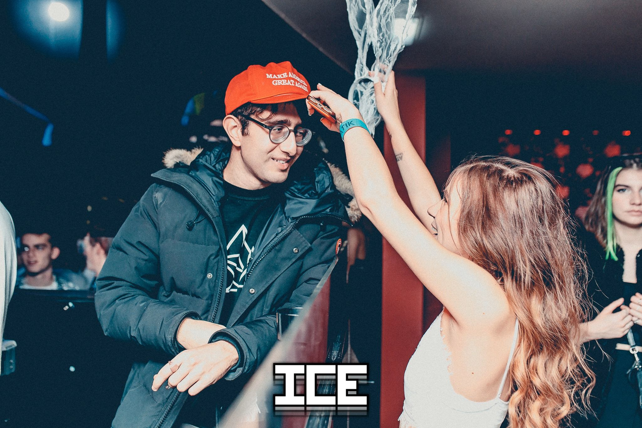 Image may contain: Night Club, Stage, Club, Hat, Apparel, Clothing, Human, Person