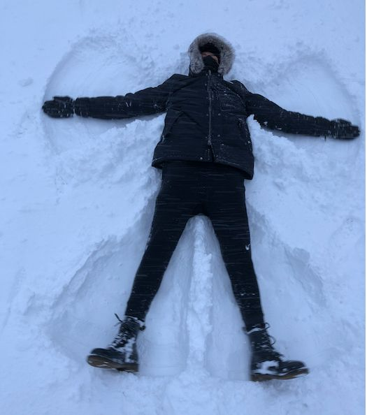 Image may contain: Snow Angel, Person, Human, Winter, Snow, Outdoors, Nature