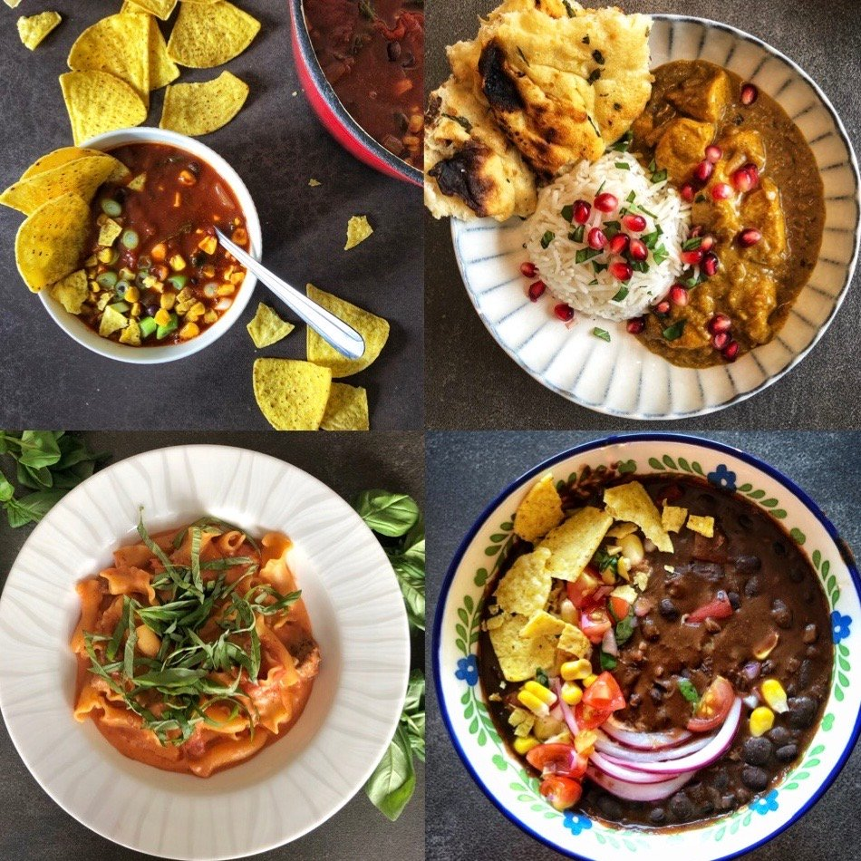Selection of dishes cooking with tinned ingredients