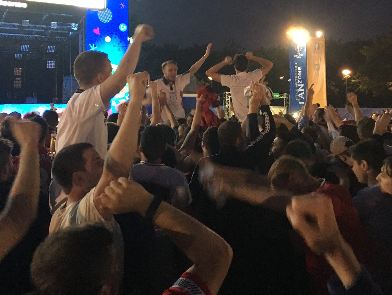 England celebrate Dier's free kick