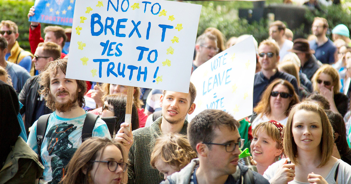Thousands protest against Britain leaving the European Union, marching from Park Lane to Westminster in central London. July 2, 2016.