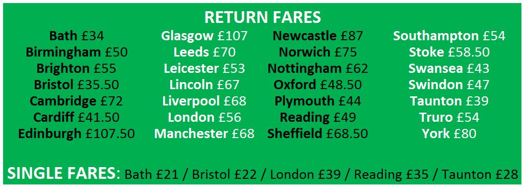 Coach prices for Glastonbury 2017