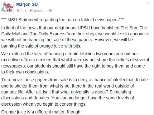 The Marjon Student Union response