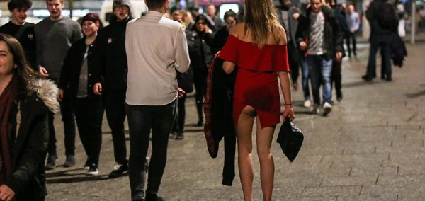 Drunk girl walking