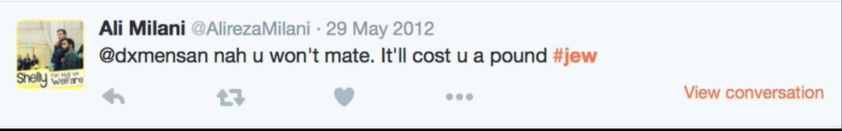 Milani's tweet, from May 2012, insulted someone as stingy followed by the #jew