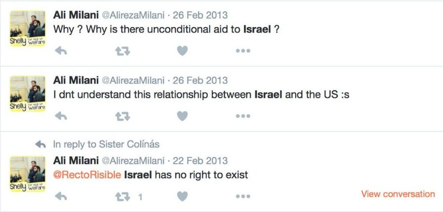 "Ali questions Israel's right to exist in a series of tweets. He says: ""Why is there unconditional aid to Israel? I don't understand this relationship between Israel and the US (confused face emoji)."" He then says: ""Israel has no right to exist"""