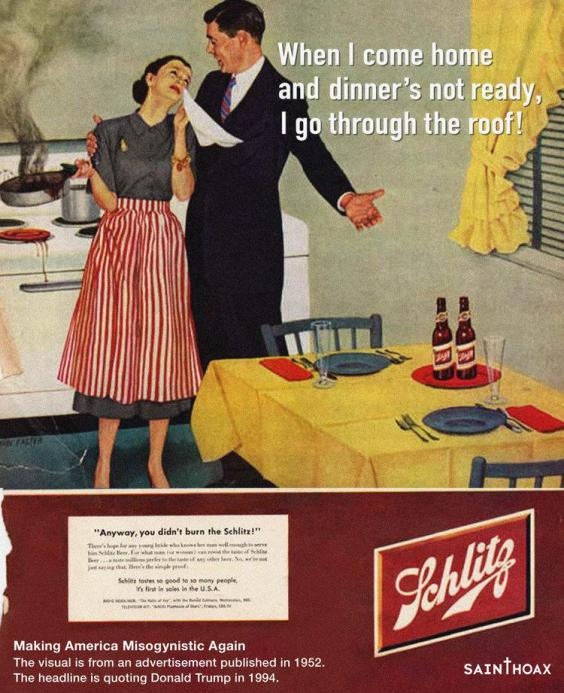 This artist put Trump quotes on sexist ads from the 1950s and it's