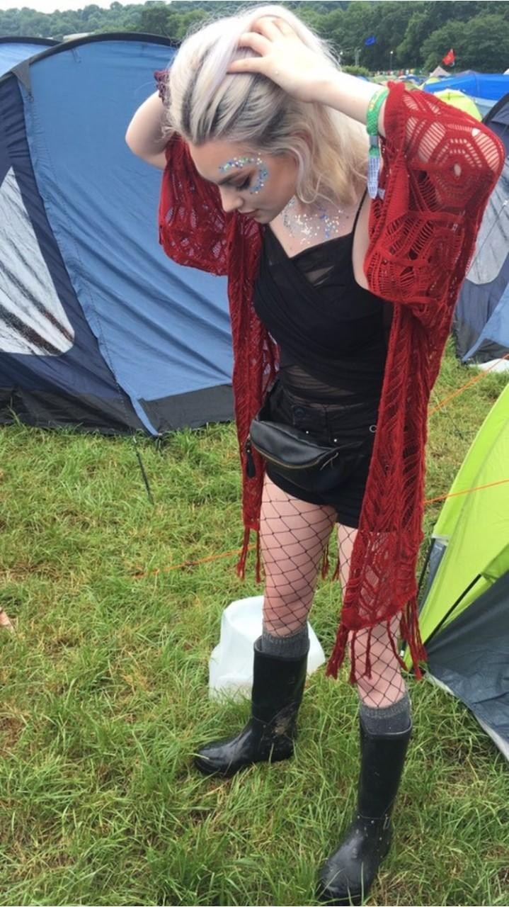 A darker take on festival fash as Samantha chooses black, leather and deep red lace