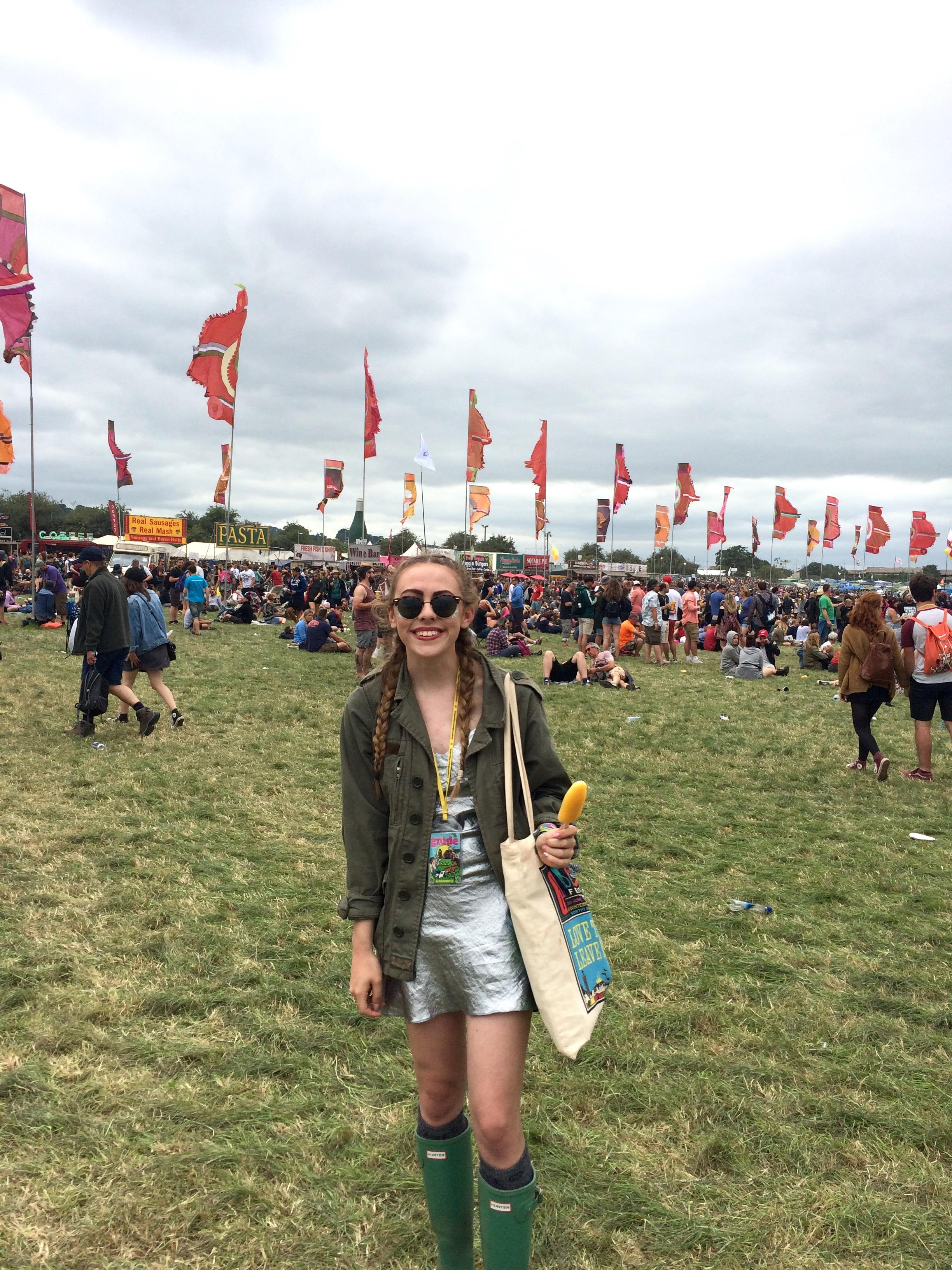 A nod to Alexa Chung's 2014 glasto look; matching shimmer with khaki green and canvas