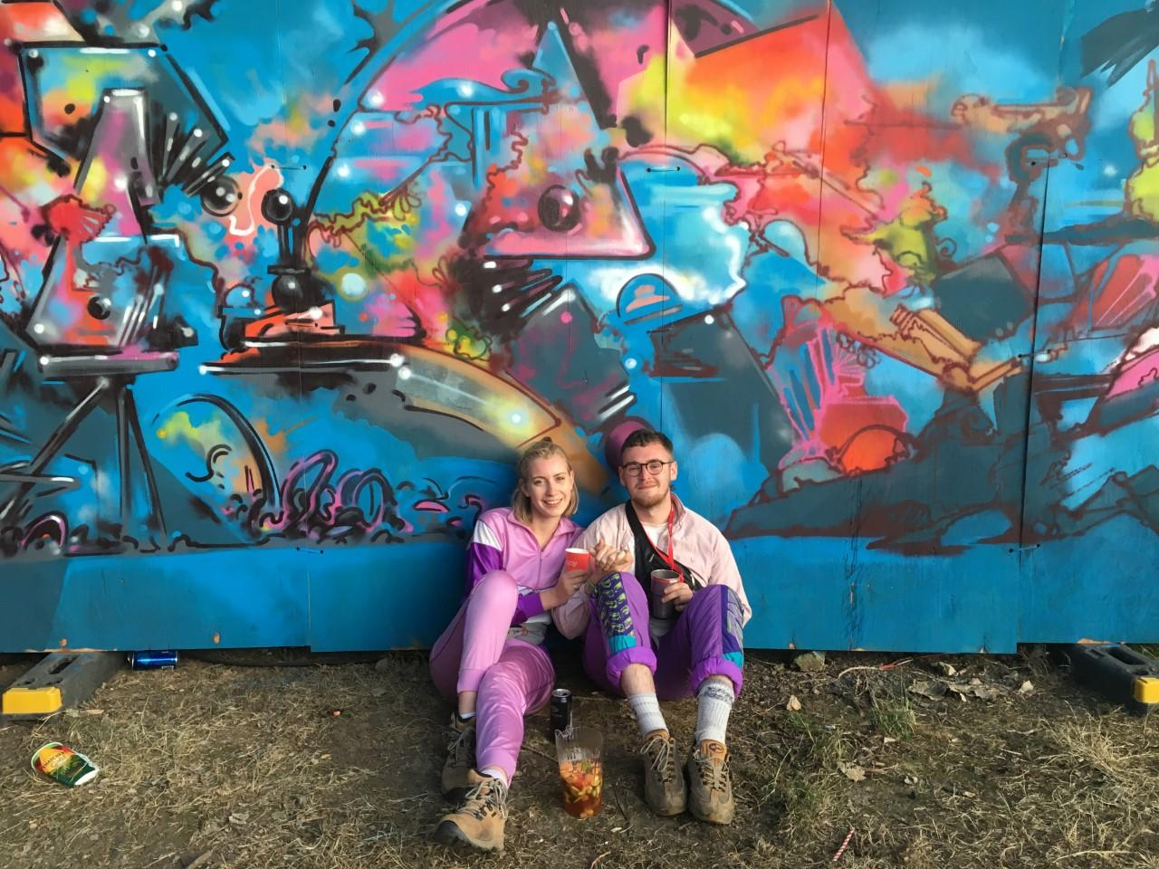 Glasto couple goals in matching pink and purple
