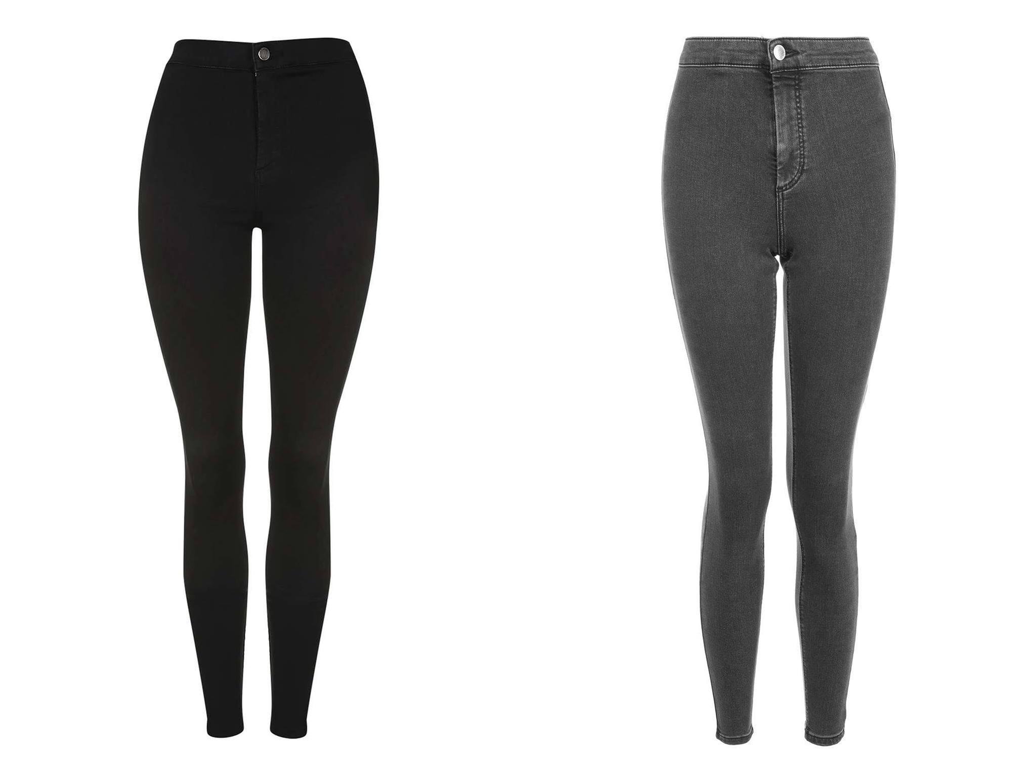 Topshop Joni jeans up close: the black (left) and washed black (right) are SO different