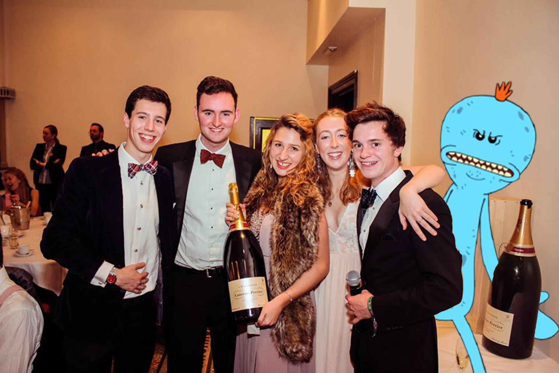 The Durham Meeseeks in its natural habitat, a champagne ball