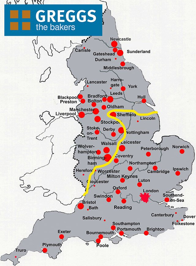 We ve figured out exactly where the North is by plotting every single Greggs
