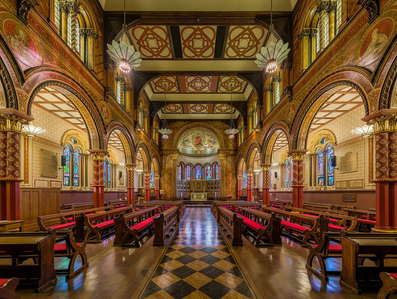 Image may contain: Couch, Worship, Church, Furniture, Chair, Indoors, Aisle, Building, Architecture, Altar