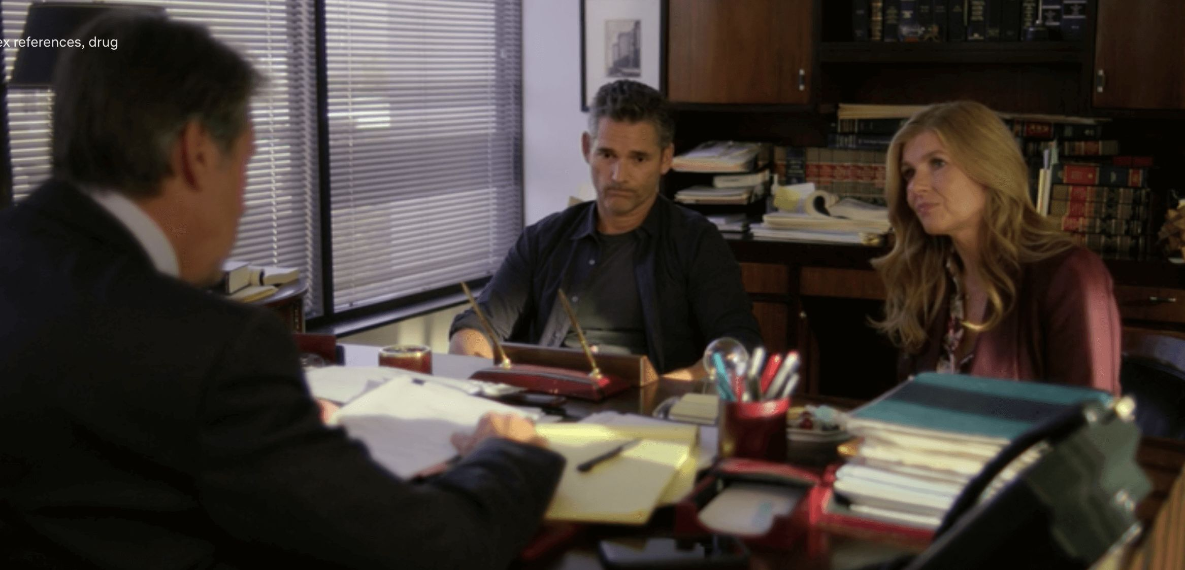 Image may contain: Dirty John moments, Dirty John, Netflix, John Meehan, Debra Newell, lawyer, Indoors, Monitor, LCD Screen, Screen, Display, Computer, Electronics, Person, Human, Desk, Table, Furniture