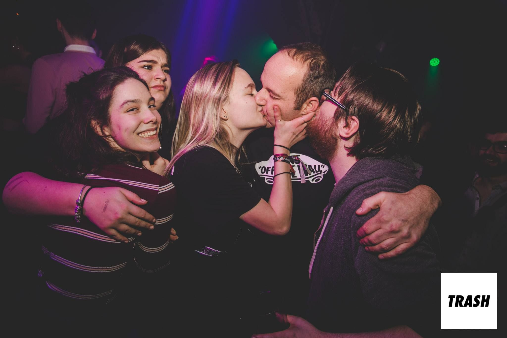 Image may contain: Make Out, Night Life, Night Club, Party, Club, Person, Human