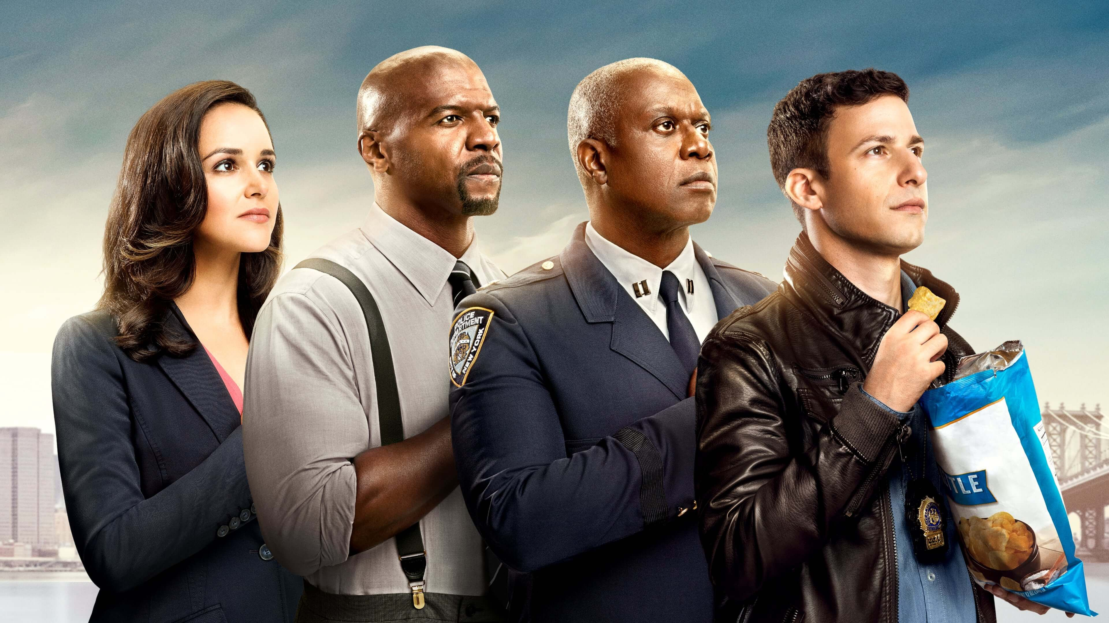 Image may contain: Brooklyn Nine-Nine, Brooklyn 99, season 5, cast, series five, Netflix, new, Military Uniform, Crowd, Accessories, Tie, Accessory, Military, Suit, Overcoat, Jacket, Coat, Person, Human, Apparel, Clothing