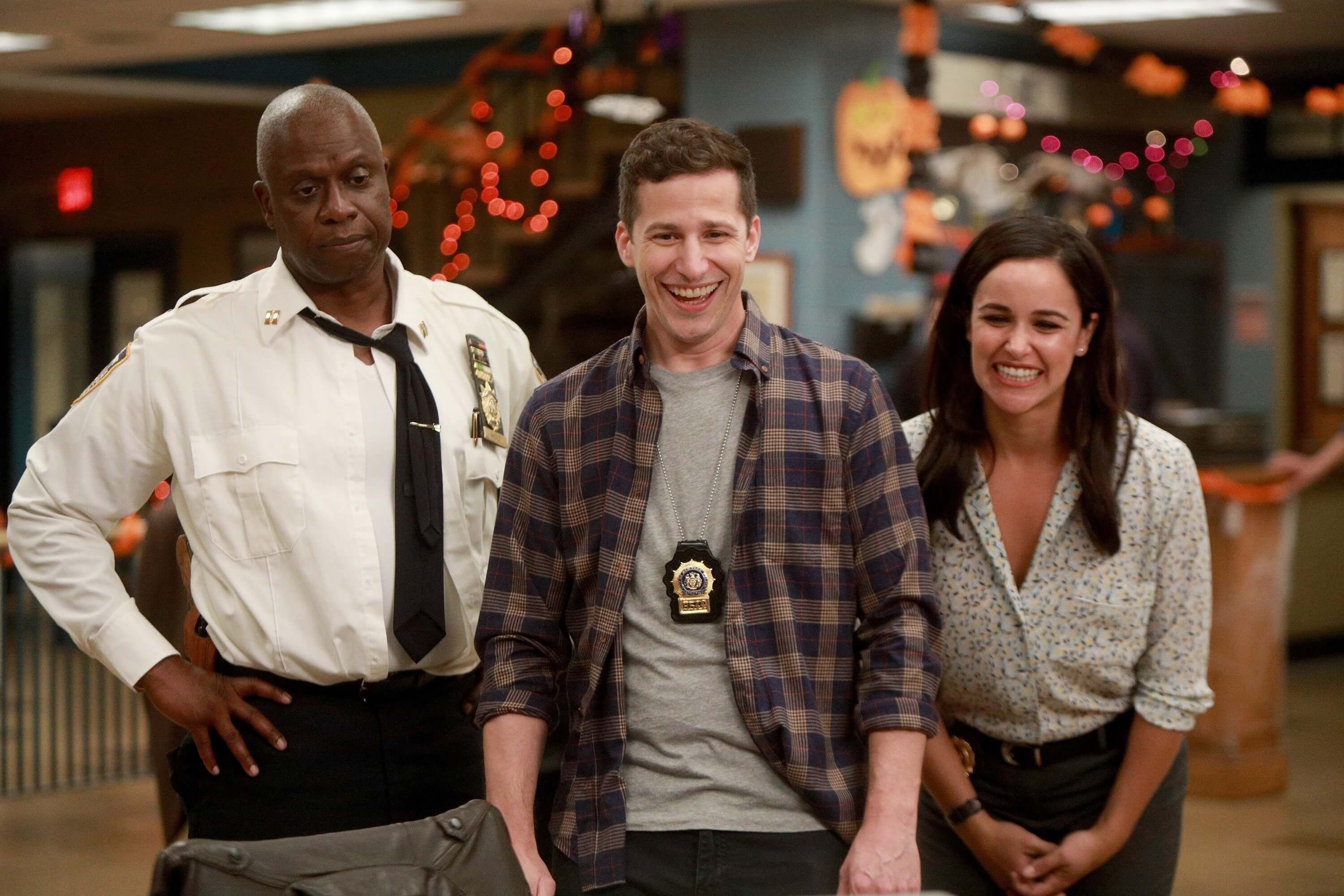 Image may contain: Brooklyn Nine-Nine, Brooklyn 99, new series, Season 5, Netflix, cast, Pants, Apparel, Clothing, Shirt, Human, Person
