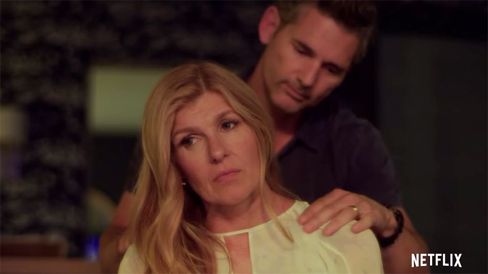 Image may contain: Dirty John, Netflix, true crime, John Meehan, Debra Newell, Connie Britton, Eric Bana,  Portrait, Photography, Photo, Clothing, Apparel, Kid, Woman, Girl, Child, Teen, Blonde, Female, Person, Human, Face