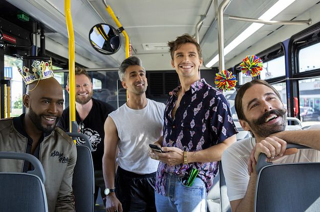 Image may contain: Queer Eye season 3, Queer Eye, Fab Five, Netflix, Vehicle, Transportation, People, Clothing, Apparel, Face, Person, Human