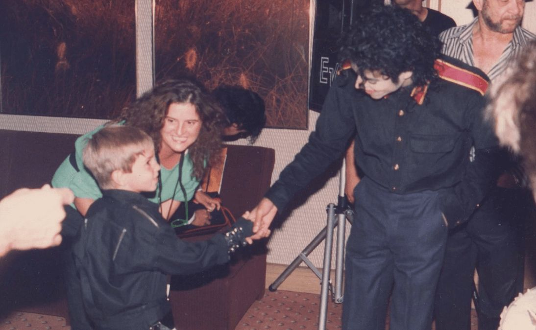 Image may contain: Leaving Neverland, Michael Jackson doc, Michael Jackson, Wade Robson, Electronics, Tripod, Human, Person