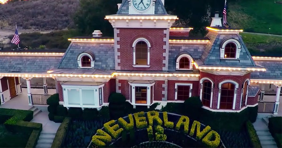 Image may contain: Michael Jackson Estate, Neverland Ranch, Michael Jackson Net worth, earnings, money, Leaving Neverland, Housing, Clock Tower, Roof, Tower, Architecture, Building