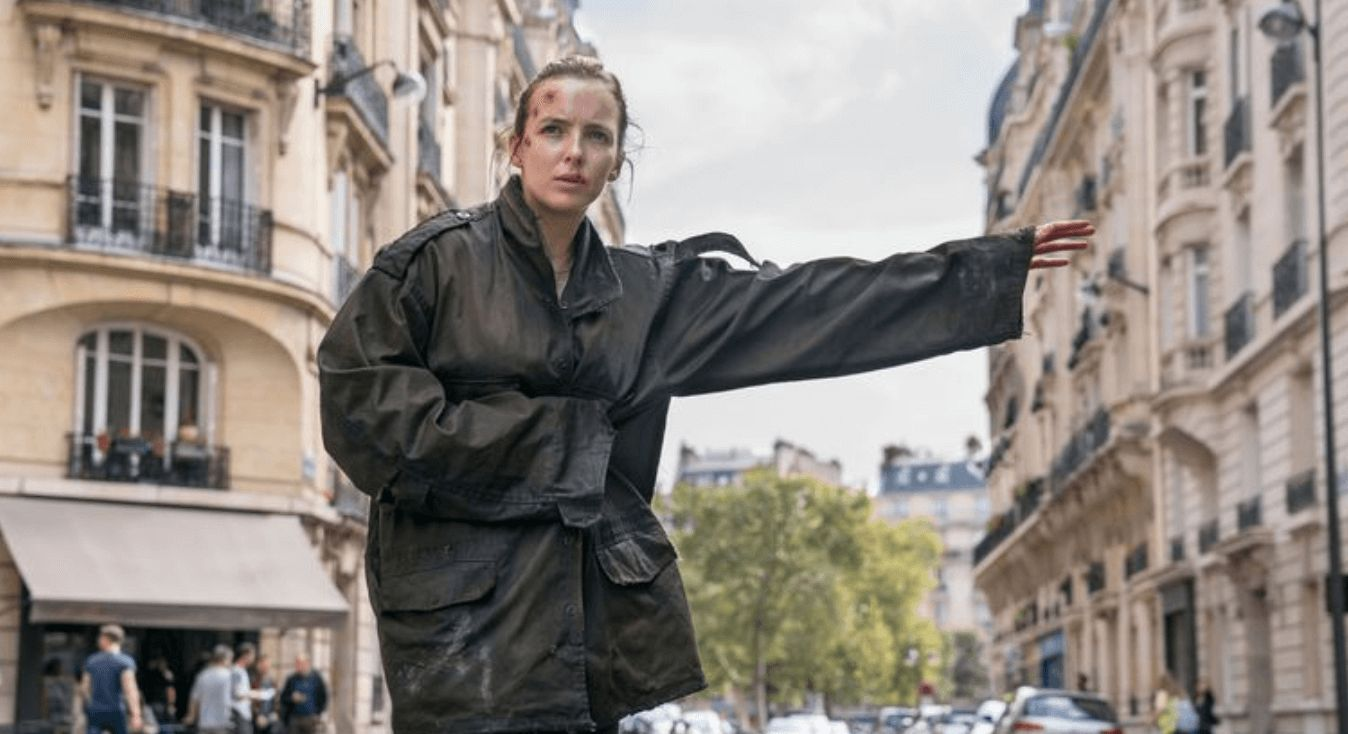 Image may contain: Killing Eve season 2, Killing Eve, Jodie Comer, Jacket, Sports, Sport, Automobile, Car, Vehicle, Transportation, Coat, Human, Person, Clothing, Apparel