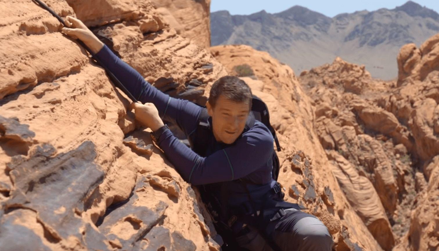 Image may contain: Bear Grylls interactive Netflix show, Bear Grylls, interactive series, Netflix, You vs Wild, Rock Climbing, Climbing, Sports, Sport, Person, Human, Outdoors