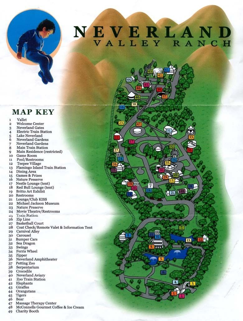 Image may contain: Neverland Ranch, Leaving Neverland, Map, amusement park, Text, Plot, Vegetation, Plant, Nature, Land, Outdoors, Water, Urban, Building, Neighborhood, Person, Human