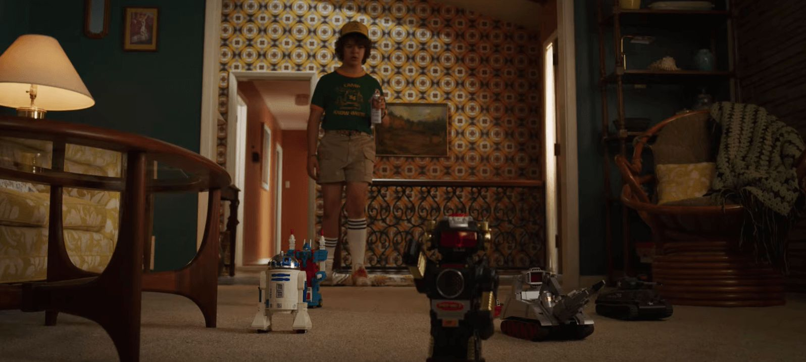 Image may contain: Stranger Things season 3 trailer, Stranger Things 3, Stranger Things, Netflix, release date, trailer, Dustin, Wood, Electronics, Apparel, Clothing, Shorts, Flooring, Person, Human