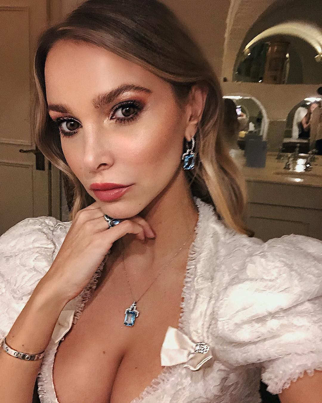 Image may contain:Made in Chelsea cast are actually from, Made in Chelsea, cast, place of birth, from, Sophie Hermann, Accessories, Accessory, Finger, Gown, Robe, Clothing, Fashion, Evening Dress, Apparel, Person, Human